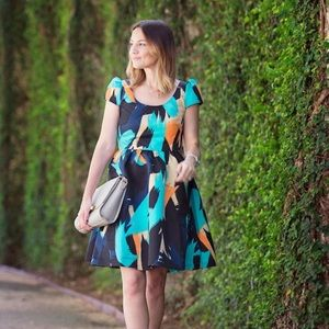 Colorful cap sleeve dress